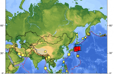 Earthquake map shows extent of activity in Pacific Rim today