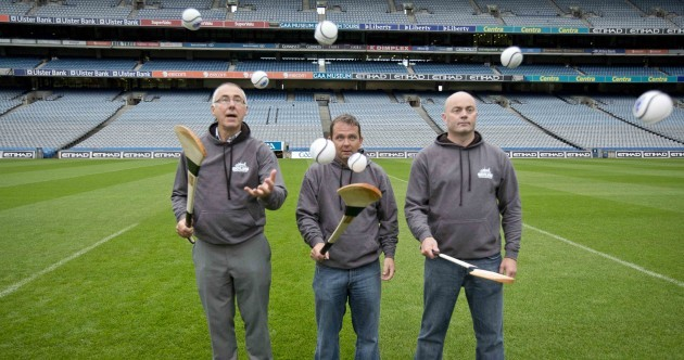 Here's Davy Fitz, Anthony Daly and John Allen pucking around in Croke Park
