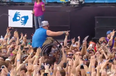 Man crowdsurfs to Irish band... in a wheelchair
