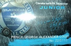 Britain's Royal Baby is now a card-carrying member of Bosnian club FK Zeljeznicar