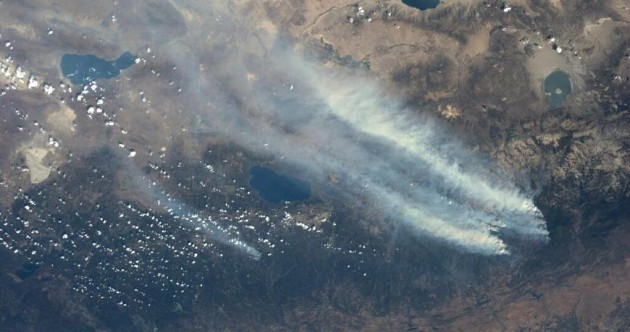 California wildfire continues to blaze - and can be seen from space