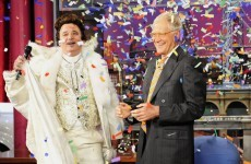 Bill Murray arrives at Letterman in majestic white regalia