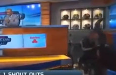 College football analyst falls off chair on TV studio set