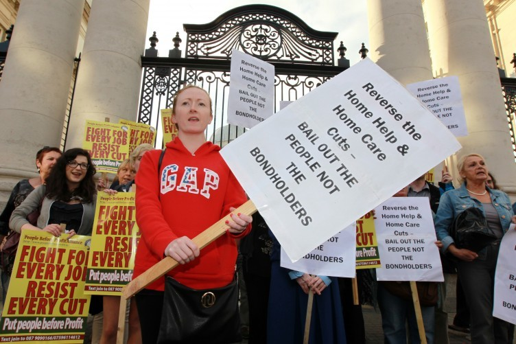 Home care workers at a protest last year over budget cuts.