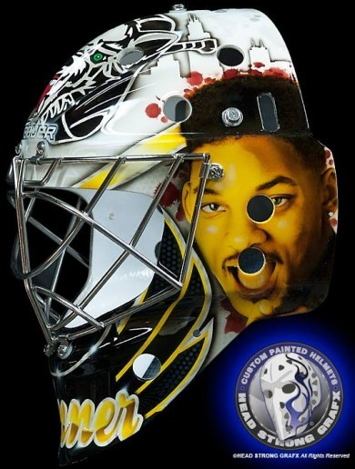 Ice hockey goalkeeper wears this custom-made 'Fresh Prince' mask