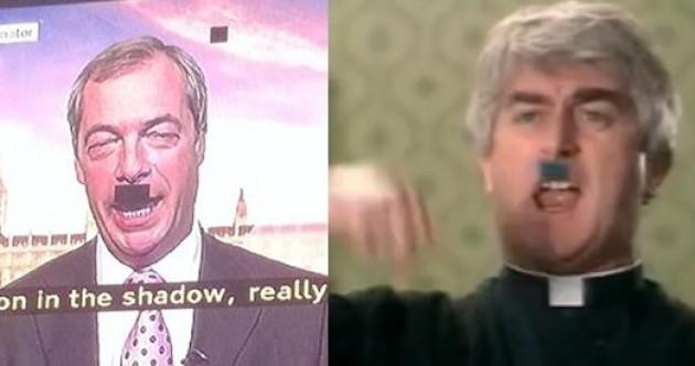 UK politician accidentally gets Hitler moustache on TV