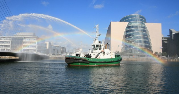 Pictures: Problems with Sam Beckett bridge lead to spectacular recreation of 'rainbow' ad