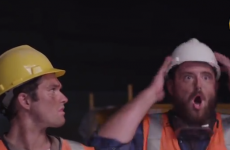 Construction workers reacts to Miley Cyrus' Wrecking Ball carry on