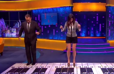 WATCH: Tom Hanks and Sandra Bullock play Chopsticks on a giant keyboard