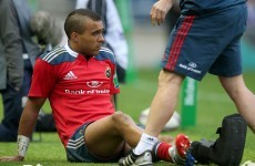 Simon Zebo facing 10 weeks on the sidelines, Munster confirm