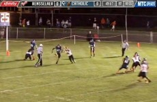 High school American football player blocks two punts on the same play