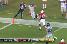 Wide receiver showboats into endzone unaware touchdown is disallowed