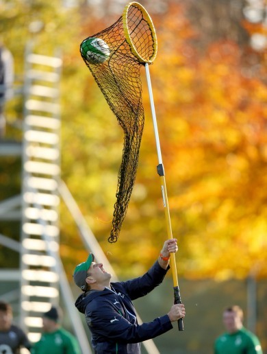 Gone fishin': John Plumtree puts Ireland forwards through their paces with a big net