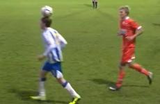 Brighton U21 balances ball on his head, then backheels it into opponent's face