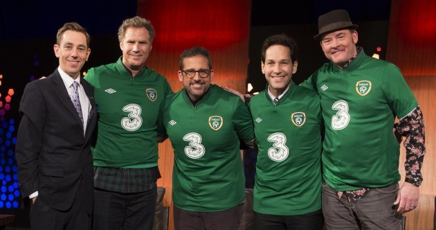 Sign 'em up! Anchorman cast don Ireland jerseys on Late Late set