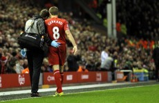 Steven Gerrard out for at least four weeks
