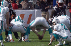 Dolphins field goal holder takes one right in the mush
