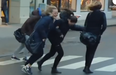 Watch as unbelievable winds blow Christmas shoppers off their feet