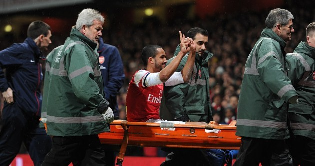 Theo Walcott taunted the Tottenham fans as he left the pitch today