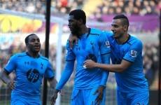 Adebayor's scoring spree continues as Spurs topple Swansea
