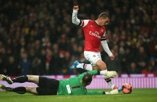 Podolski double sends Arsenal into FA Cup last 16