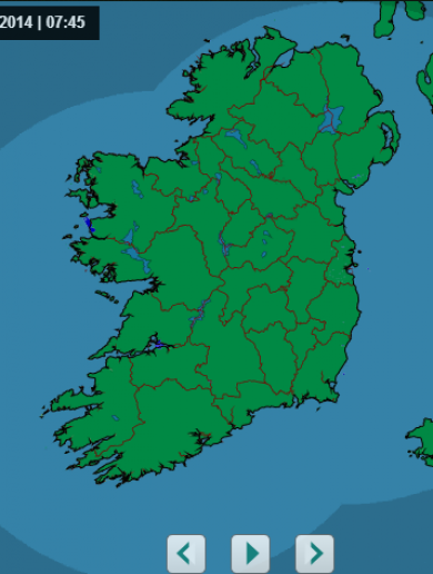 It is not raining anywhere in Ireland right now