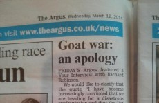 Greatest newspaper apology about goats you'll see today