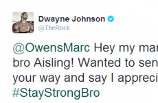 The Rock takes to Twitter to support Irish lad battling with cancer