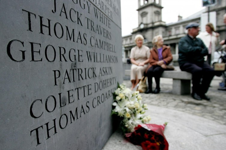 A monument in Talbot Street displays the names of those killed in the Dublin-Monaghan bombings.