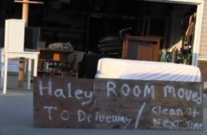 Dad moves messy daughter's bedroom to the driveway to teach her a lesson