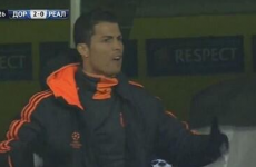 Cristiano Ronaldo is throwing a proper tantrum on the bench in Dortmund