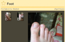 Someone from Wexford is selling a foot on DoneDeal