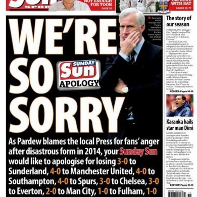 The Sunday Sun's brilliant back page tomorrow has more than a hint of sarcasm about it