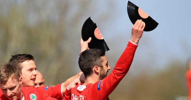 SNAPSHOT: Striker celebrates breaking scoring record by... breaking a vinyl record
