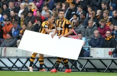 Today's Hull-Arsenal game was interrupted by some wind-assisted advertising hoardings
