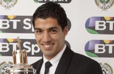Luis Suarez has been crowned the PFA Player of the Year
