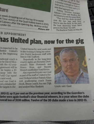 Australian newspaper mixes up Louis van Gaal and Harold from Neighbours