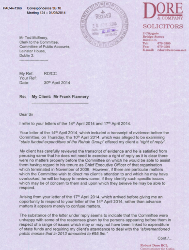 Here are the letters Angela Kerins and Frank Flannery sent to PAC