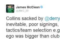 James McClean has his say on Roddy Collins' exit from Derry City
