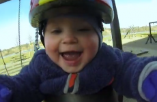 This baby wearing a GoPro while on a swing is pure JOY