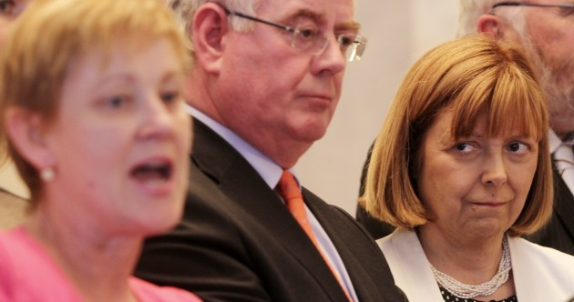 Standing beside Eamon Gilmore, Phil Prendergast says she still wants him to resign