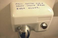 Brilliantly cynical Enda Kenny graffiti on a bathroom hand-dryer