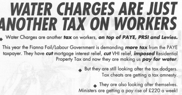 Gilmore on THAT water charges leaflet: 'What I was against then is what I'm against now'