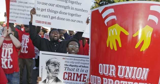 Pics: McDonald's workers continue protest over low wages