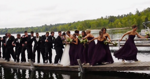 This entire wedding party fell into a lake, and it was all caught on slow-mo video