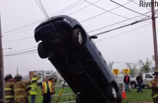 Woman rescued after managing to get her tyres stuck in overhead wires