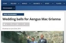 Unfortunate Aengus Mac Grianna typo on the RTÉ website
