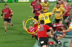 Colin Slade and his mouthguard sent flying as Hadleigh Parkes goes on the rampage