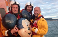 A giant Mickey Mouse balloon was rescued after crashing in the sea off Bray yesterday