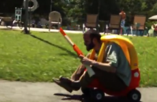 Two dads use their kids' toys to have epic battle
